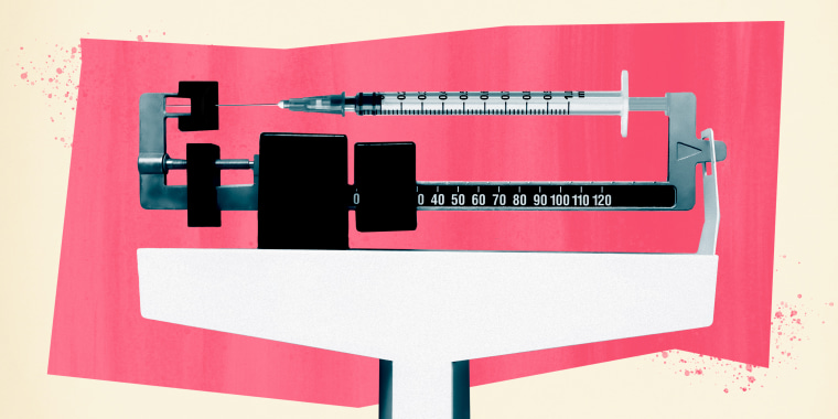 Photo illustration of a scale mixed with a syringe