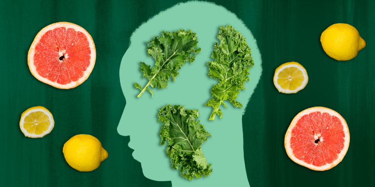 Illustration of woman's profile with fruits and veggies inside