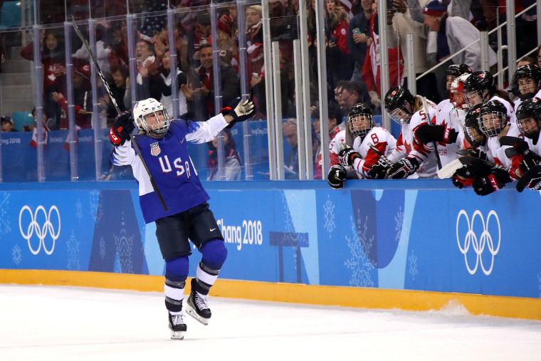Image: Jocelyne Lamoureux #17 of the U.S. celebrates after scoring a goal in the overtime penalty-shot shootout against Canada during the women's ice hockey gold medal game Feb. 22, 2018 in Gangneung, South Korea.