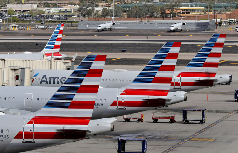 American Airlines jets sit at their gates at Sky Harbor International Airport in Phoenix on March 25, 2020.