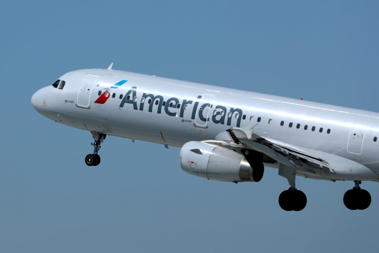 Image: An American Airlines plane takes off from Los Los Angeles International airport