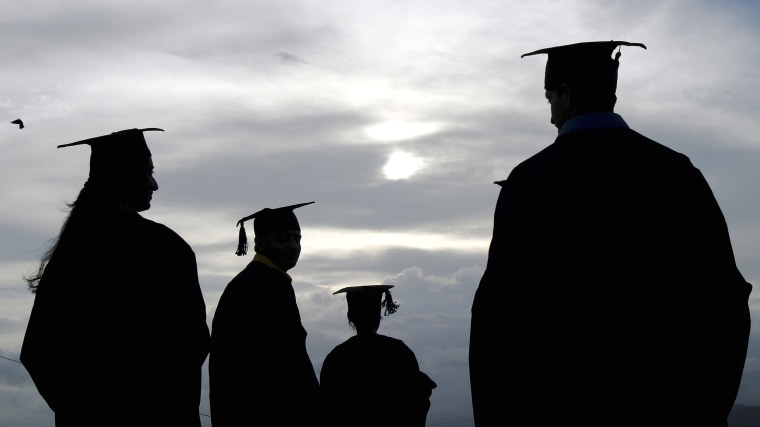 Image: Four College Graduates, Outdoors, Silhouetted.
