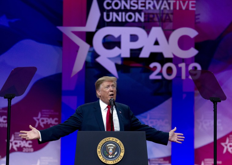 Image: Donald Trump speaking at Conservative Political Action Conference in 2019