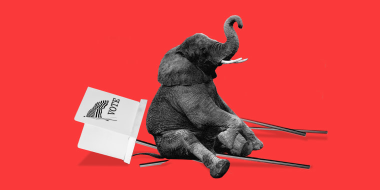 Photo illustration of an elephant sitting over a fallen voting booth