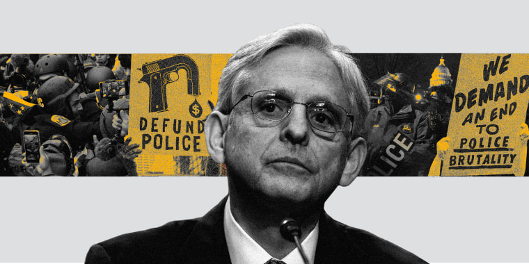 "Photo collage of Merrick Garland against a reel of images of police at the Capitol riot along with protest banners that read,""Defund the Police"" and ""We demand an end to police brutality""."