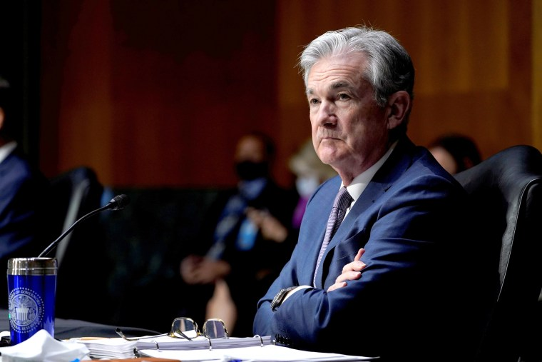 Image: Chairman of the Federal Reserve Jerome Powell listens during a Senate Banking Committee hearing in Washington