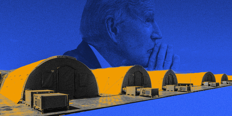 Photo illustration with a profile of President Joseph Biden in the background and a row of intensive care tents in the foreground.