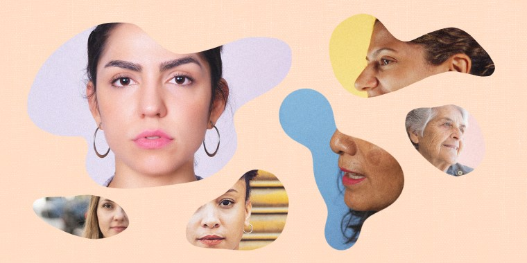 Image: Illustration shows photos of diverse Latina women in organic shapes.