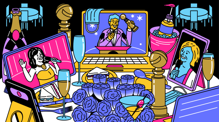 IMage: Illustration of a crowded Golden Globes table that shows three screens depicting hosts Amy Poehler and Tina Fey and a man accepting an award. Masks and hand sanitizer decorate the table, with flowers and champagne.