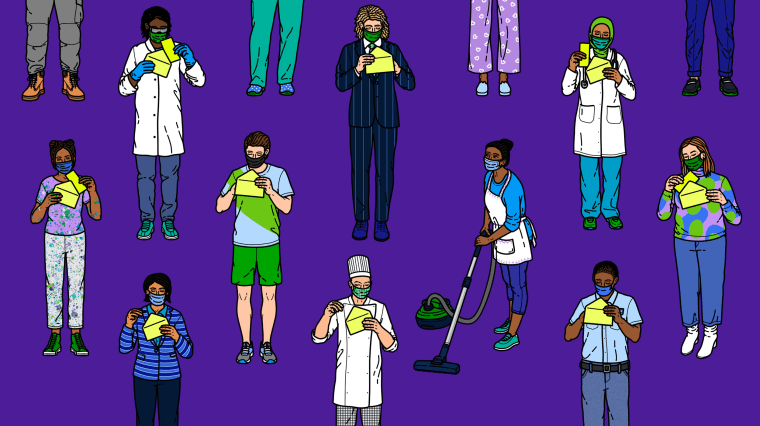 Image: Illustration shows a domestic worker with a vacuum while other people from various professions open checks.