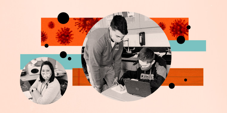 Image: Photo illustration shows a high school student substitute teaching a seventh grader, along with a young woman substitute teacher, with bars of Covid spores and looseleaf paper behind him