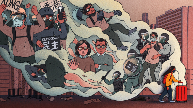 Image: Illustration shows a teenaged girl fleeing the city of Hong Kong as a large thought bubble shows scenes of protests, her disapproving parents, and arrests of activists.