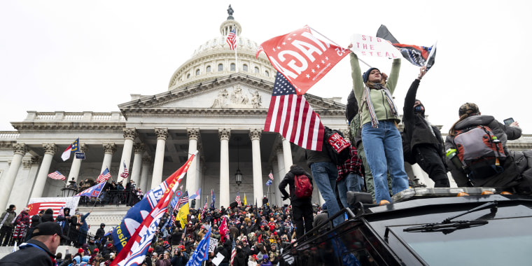 Image: Supporters of President Donald Trump rally on the steps of the Capitol on Jan. 6, 2021