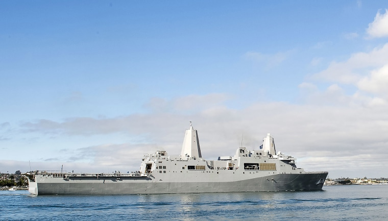 Image: The amphibious transport dock ship USS San Diego sails in San Diego Bay, Calif.