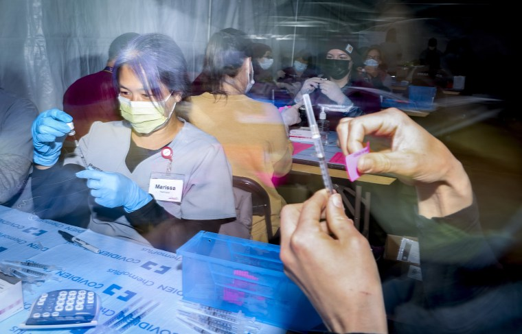 Image: Coors Field In Colorado Hosts Mass Site For Second Dose Of Covid-19 Vaccination