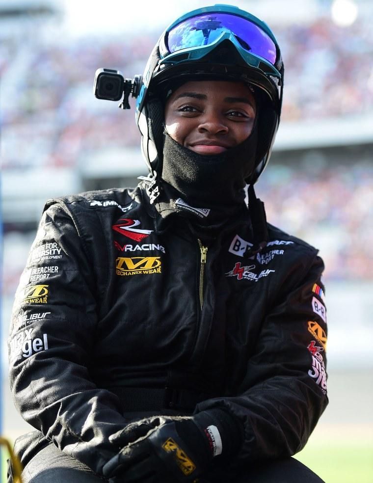 Brehanna Daniels, tire changer on the #52 Winn Dixie Chevrolet, during the Monster Energy NASCAR Cup Series 61st Annual Daytona 500 at Daytona International Speedway on Feb. 17, 2019 in Daytona Beach, Fla.