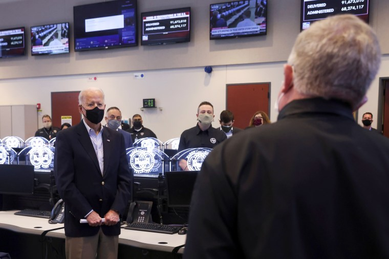 Image: President Joe Biden tours Harris County Emergency Operations Center, in Houston, Texas