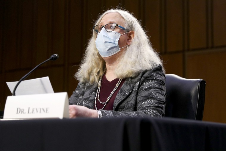 Image: Rachel Levine, nominee for Assistant Secretary in the Department of Health and Human Services, testifies at her confirmation hearing before the Senate Health, Education, Labor, and Pensions Committee on Feb. 25, 2021 on Capitol Hill.