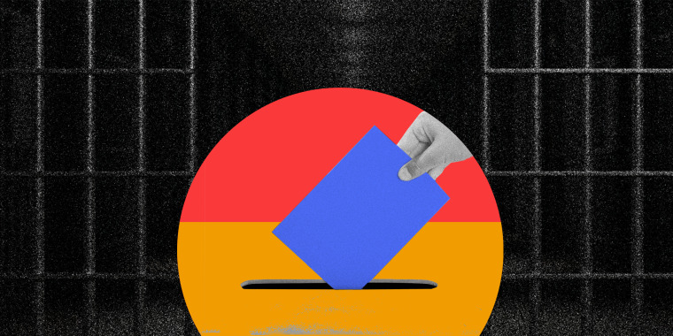 Photo illustration of a hand putting a vote into a ballot box against a background of an open prison cell.