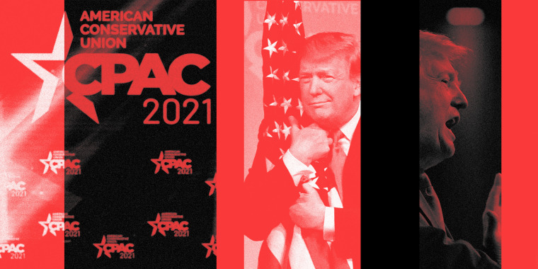 Photo collage of the stage at CPAC 2021, Donald Trump hugging the American flag and Donald Trump speaking on stage.