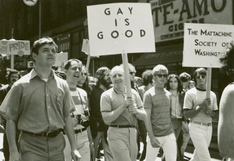 Image: Frank Kameny and Mattachine Society of Washington members marching in New York, June 1970