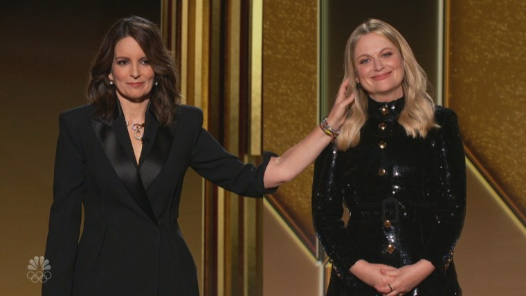 Tina Fey and Amy Poehler co-host the Golden Globes from New York and Los Angeles, respectively, on Feb. 28, 2021.