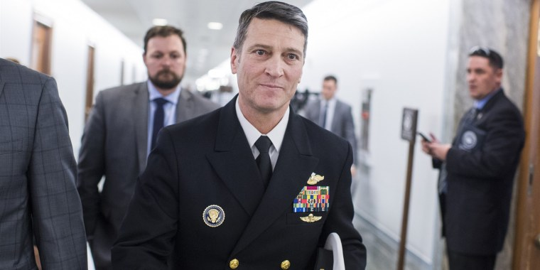 Rear Adm. Ronny Jackson, nominee for Veterans Affairs secretary, leaves Dirksen Building after a meeting on Capitol Hill with Sen. Jerry Moran, R-Kan., on April 24, 2018.
