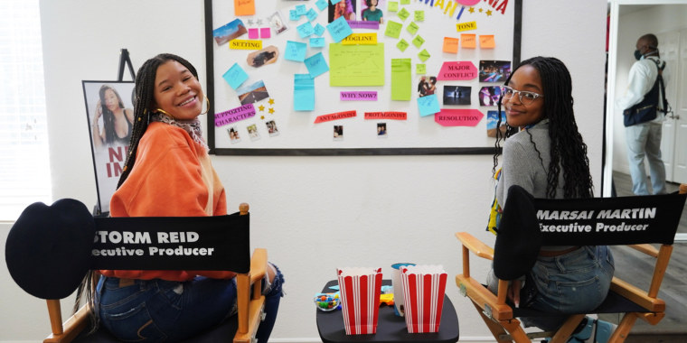 """Storm Reid and Marsai Martin on the set of Reid's cooking show """"Chop It Up"""" on Facebook Watch."""