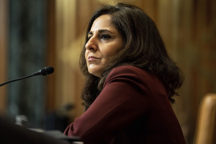 Image: Neera Tanden appears before a Senate Committee on the Budget hearing on Capitol Hill on Feb. 10, 2021.