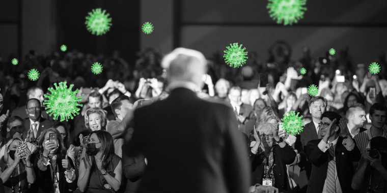 Photo illustration of green COVID-19 spores in the audience as Former President Donald Trump speaks at the Conservative Political Action Conference (CPAC).