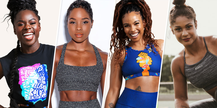 Image:; Peloton instructor Tunde Oyeneyin, Raw Fitness founder Destiny N. Monroe , Peloton instructor Chelsea Jackson Roberts and Ashley Mitchell, founder of The Courage Campaign.