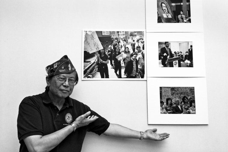 Corky Lee showing some of his photos from the 1960's and 1970's.