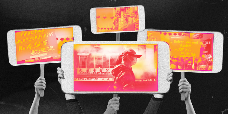 Photo illustration of hands holding up phones with images of Chinatown and protest signs that read, 'Reject Fear and Racism.'