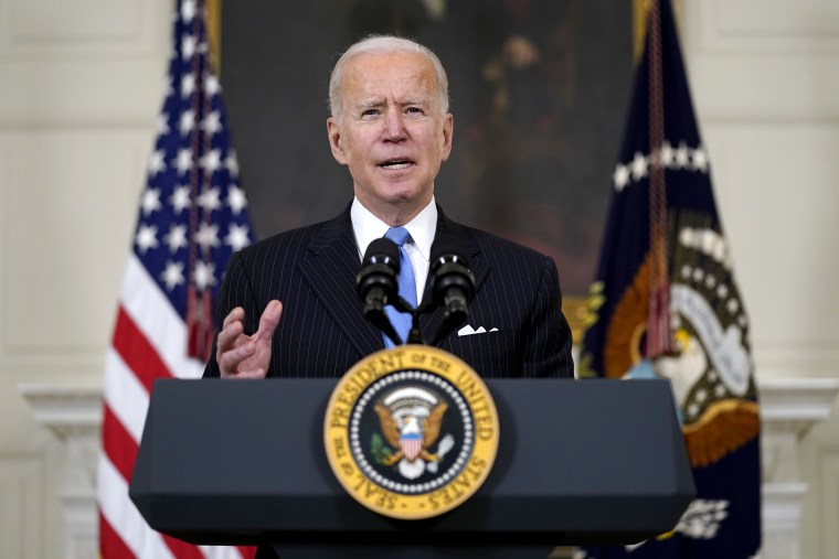 Image: President Joe Biden speaks about efforts to combat COVID-19, in the State Dining Room of the White House on March 2, 2021.