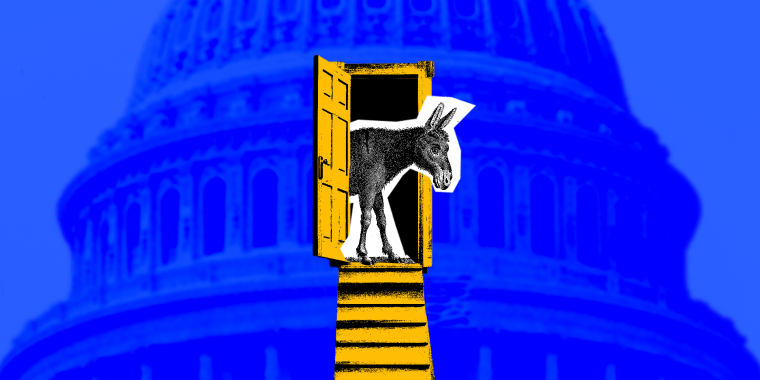 Photo illustration of a donkey looking out of a door against the backdrop of the U.S.Capitol Dome.