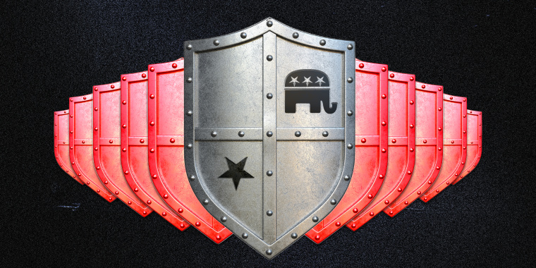 Photo illustration of a shields going in two different directions. The top most shield has the GOP part symbol on it.