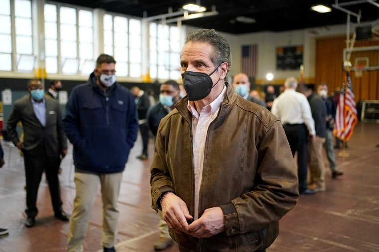 Image: New York Governor Andrew Cuomo walks through a vaccination site after speaking in Brooklyn, N.Y., on Feb. 22, 2021.