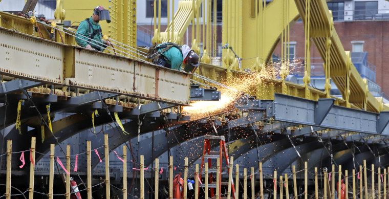Image: worker welds on the Ninth Street bridge in Pittsburgh