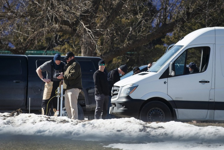 Police investigate the scene at the Lakeside Center where a suspicious package was found on March 2, 2021, in Ankeny, Iowa.