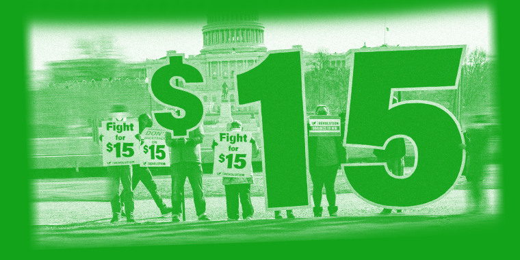 Photo illustration of activists appeal for a $15 minimum wage near the Capitol in Washington.
