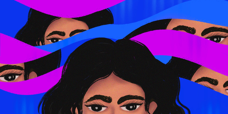 Illustration with flowing forms in the background zooming in on the eyebrows, eyes and hair. Foreground shows half the face with wavy black hair in the foreground.