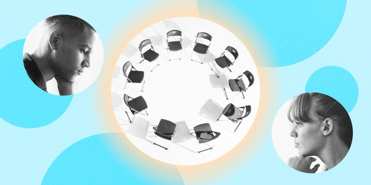 Image: Illustration shows young people in circles listening next to a glowing circle that shows chairs in a circle.