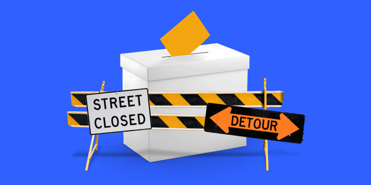 "Photo illustration of a ballot box surrounded by barriers. Signs on the barrier read,""Road closed\"" and \""Detour\""."