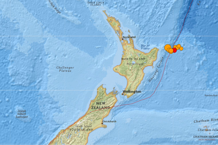 Image: Shakemap of earthquakes near New Zealand, March 4, 2021