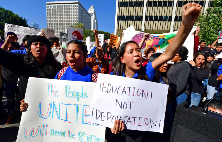 People rally in support of immigrants' rights in downtown Los Angeles on Nov. 12, 2019.