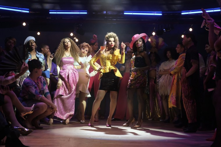 """Image: Alexia Garcia as Aphrodite, Hailie Sahar as Lulu, Anjelica Ross as Candy in the """"Mother of the Year"""" Season 1 episode of """"Pose."""""""