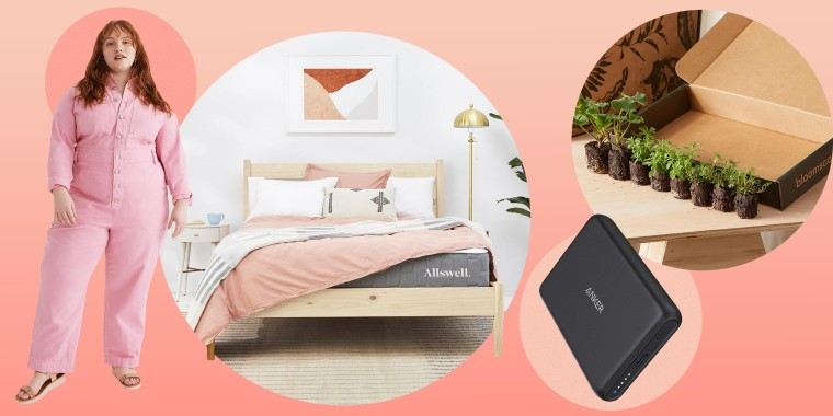 Illustration of an Anker PowerCore Magnetic 5K, Madewell x Issa Rae pink jumpsuit on model, Allswell The Brink mattress, and Bloomscape debuts outdoor plant collection