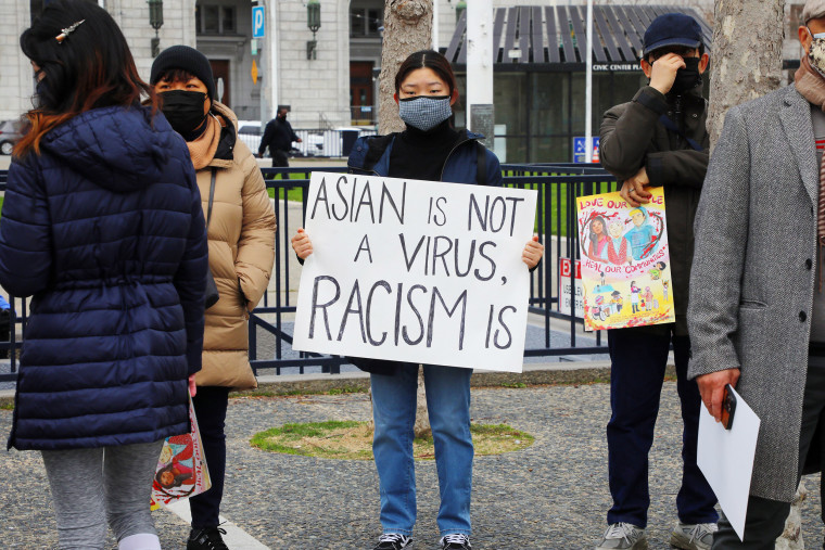 Image: An anti-hate rally outside the San Francisco civic center on Feb. 14, 2021 following the fatal assault on an Asian-American man.