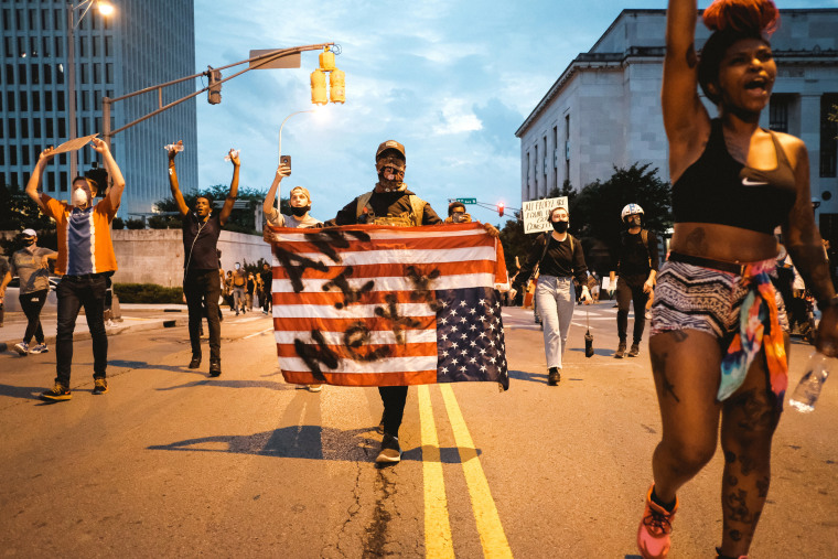 Protesters are seen marching upon the Tennessee State Capitol building on June 4, 2020 in Nashville, Tenn.
