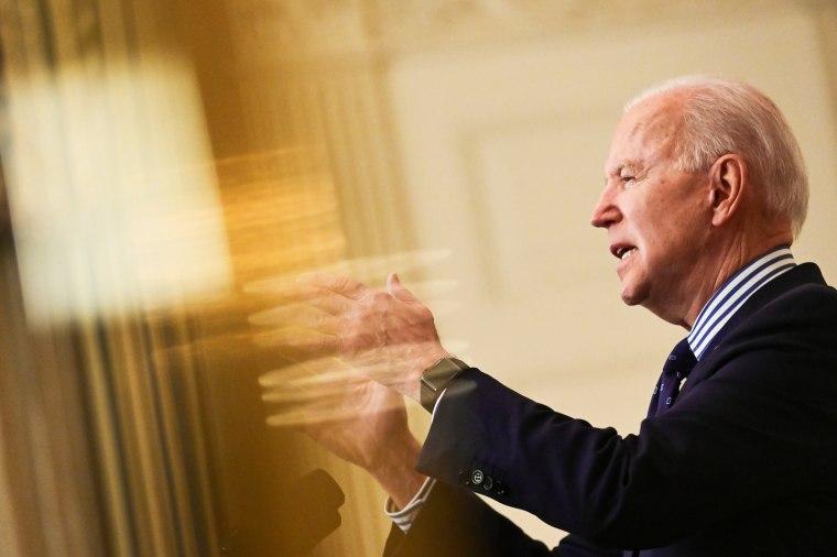 Image: U.S. President Joe Biden makes remarks from the White House after his coronavirus pandemic relief legislation passed in the Senate, in Washington
